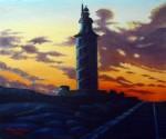 Obras de arte: Europa : España : Galicia_La_Coruña : Coruna : Ocaso en la Torre de Hércules