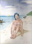 Obras de arte: Europa : España : Catalunya_Barcelona : ir_a_paso_2 : Chica  con pañuelo azul