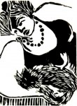 Obras de arte: America : Brasil : Parana : Curitiba : Mulher com gato