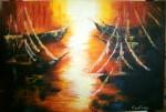 Obras de arte: America : Argentina : Entre_Rios : Paraná : puesta de sol en el embarcadero
