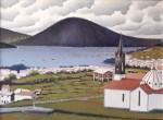 Obras de arte: Europa : España : Galicia_La_Coruña : Coruna : Igrexa de PIñeiro e Ría de Cedeira o fondo