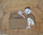 Obras de arte: America : Argentina : Mendoza : mendoza_ciudad : niño jugando con una caja vacia