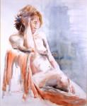 Obras de arte: Europa : Francia : Ile-de-France : PARIS : Gaëlle del drapeado rojo