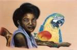 Obras de arte: America : Venezuela : Miranda : Caracas_capital : Negra con guacamaya