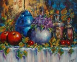 Obras de arte: Europa : España : Andalucía_Málaga : Torre_del_Mar : Jarron azul y manzanas