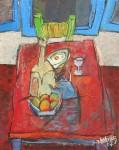 Obras de arte: America : Uruguay : Artigas : Artigas_ciudad : Mesa azul con silla roja y ventana verde