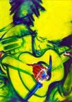 Obras de arte: Europa : España : Catalunya_Barcelona : Barcelona : Guitarrista árbol- detalle