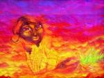 Obras de arte: Europa : España : Catalunya_Barcelona : Barcelona : mujer Maiz retoña-Mural portátil