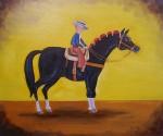 Obras de arte: America : México : Chihuahua : ciudad_chihuahua : El Retrato del Rejoneador Chiquito y su Caballo Torero.