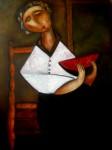 Obras de arte: Europa : España : Catalunya_Barcelona : BCN : mujer sentada comiendo sandia