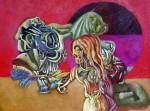 Obras de arte: America : Argentina : Buenos_Aires : 9_de_julio : Mujer, Rosa y León