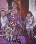 Obras de arte: America : Argentina : Buenos_Aires : Capital_Federal : Retrato de Familia con Mujer, Niño y Perro