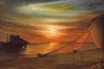 Obras de arte: Europa : España : Galicia_Pontevedra : vigo : Posta do sol na ria de vigo