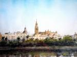 Obras de arte: Europa : España : Extremadura_Badajoz : Oliva_de_la_Frontera : Catedral desde el rio
