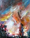 Obras de arte: America : Cuba : Sancti_Spiritus : SanctiSpiritus : Atardecer con Iglesia