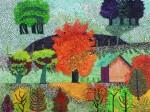 Obras de arte: Europa : España : Galicia_Pontevedra : Porriño : Contrapunto en vermellos, verdes, violetas