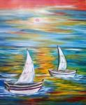 Obras de arte: Europa : España : Catalunya_Barcelona : BCN : Barcas bajo el sol