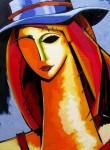 Obras de arte: America : Colombia : Antioquia : Medellin : MUJER CON SOMBRERO