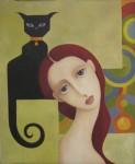 Obras de arte: Europa : España : Aragón_Huesca : Jaca : Jeanne con gato negro