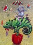 Obras de arte: America : Cuba : La_Habana : Vedado : quijote sobre lagarto verde