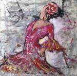 Obras de arte: Europa : España : Andalucía_Sevilla : Albaida_del_Aljarafe : flamenca con vestido rojo