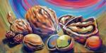 Obras de arte: Europa : España : Andalucía_Málaga : Rincón_de_la_Victoria : Mucho ruido y pocas nueces, algunos frutos secos acompañando al ron, y seca la nevera, pereo donde comen dos, comen tres, doy vueltas del revés.