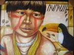 Obras de arte: America : Brasil : Mato_Grosso_do_Sul : nova_andradina : Índio com tucano