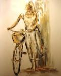 Obras de arte: Europa : España : Catalunya_Tarragona : Banyeres_Penedes : La chica de la bicicleta