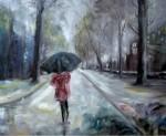 Obras de arte: Europa : España : Catalunya_Tarragona : Valls : caminant sota la pluja
