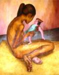Obras de arte: America : México : Quintana_Roo : cancun : Niña con muñeca: por Maria Antonieta Barcenas