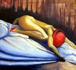 Obras de arte: America : Chile : Los_Lagos : Puerto_Varas : MUJER DEL SOMBRERO ROJO
