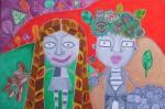 Obras de arte: America : Chile : Region_Metropolitana-Santiago : providencia : Hombre y mujer floridos