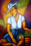 Obras de arte: America : Colombia : Antioquia : Medellín : Vendedora de platanos