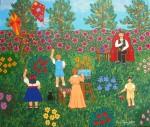 Obras de arte: Europa : España : Madrid : alcala_de_henares : Pintando en el jardín