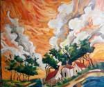 Obras de arte: America : Argentina : Buenos_Aires : Capital_Federal : atardecer naranja