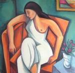 Obras de arte: Europa : España : Catalunya_Barcelona : Sant_Pol_de_Mar : Chica con vestido blanco