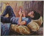 Obras de arte: America : Argentina : Chaco : resistencia : Niña con celular