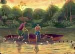 Obras de arte: America : Perú : Amazonas-Peru : Comunidad_de_Puerto_Miguel-_Yarapa : Pescadores de Yarapa- Merlin Canaquiri