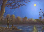 Obras de arte: America : Perú : Amazonas-Peru : Comunidad_de_Puerto_Miguel-_Yarapa : Cocamas en noche de luna- Edward Llerena