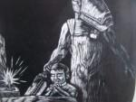Obras de arte: America : México : Mexico_Distrito-Federal : Magdalena_Contreras : Aqui viene una vela para alumbrarte hasta la cama.Aqui viene el carnicero a cortarte la cabeza¡¡..