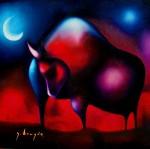 Obras de arte: America : México : Mexico_Distrito-Federal : Xochimilco : toro a la luz de la luna