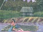 Obras de arte: America : Perú : Amazonas-Peru : Comunidad_de_Puerto_Miguel-_Yarapa : Mujer Lavando- Luis Beltran