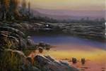 Obras de arte: Europa : España : Catalunya_Tarragona : Cambrils : Puesta de sol en el lago
