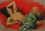 Obras de arte: Europa : España : Valencia : Alicante : Modelo sobre fondo rojo