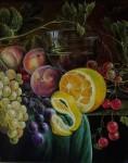 Obras de arte: America : Costa_Rica : San_Jose : SanPedro : bodegon-frutas y copa con bino