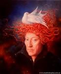 Obras de arte: America : Argentina : Buenos_Aires : Villa_Elisa : Retrato de Van Eyck con nido y pájaro