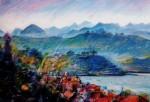 Obras de arte: America : Chile : Los_Lagos : puerto_montt : Puerto y montañas. (Carta del Sur)