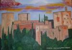 Obras de arte: Europa : España : Andalucía_Granada : La_Zubia : LA ALHAMBRA AL ATARDECER