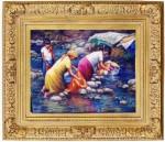 Obras de arte: America : Rep_Dominicana : Santiago : monumental : lavando en el rio
