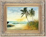 Obras de arte: America : Rep_Dominicana : Santiago : monumental : playa con cocotero